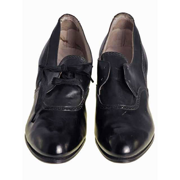 Vintage Black Leather Tie Oxfords 1920S  NIB Slenderfoot  Arch Fitter 5.5 B/D - The Best Vintage Clothing  - 3