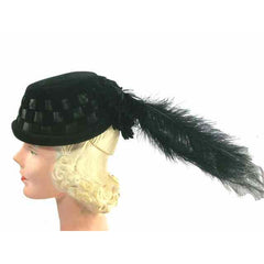 Vintage Black Cocktail Hat w Dramatic Long Feathers 1950s - The Best Vintage Clothing  - 1