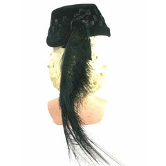 Vintage Black Cocktail Hat w Dramatic Long Feathers 1950s - The Best Vintage Clothing  - 3
