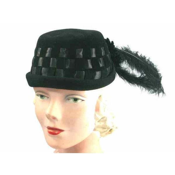 Vintage Black Cocktail Hat w Dramatic Long Feathers 1950s - The Best Vintage Clothing  - 2