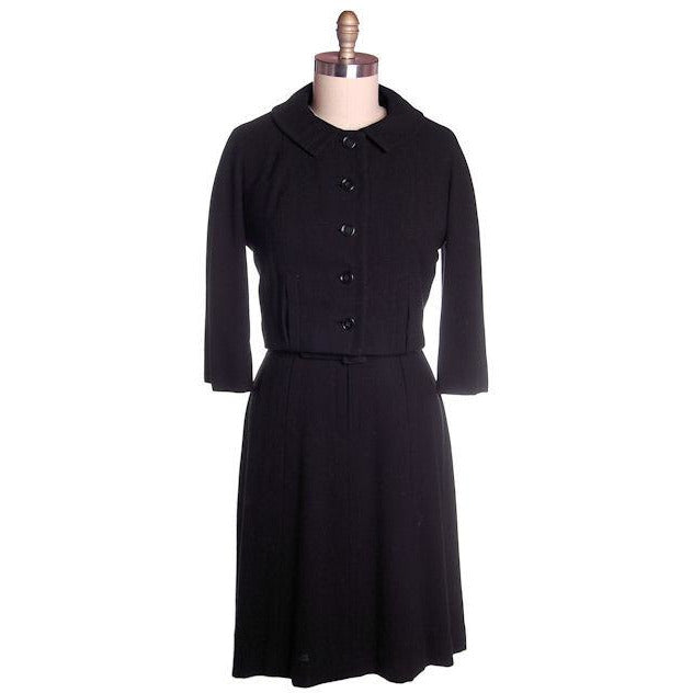 Vintage Ladies  Black Wool Suit/Dress Branell Jones 1950s - The Best Vintage Clothing  - 1