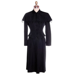 Vintage Black Rayon Suit w/ Cape Ball Fringe 1940s Sz 4 - The Best Vintage Clothing  - 1