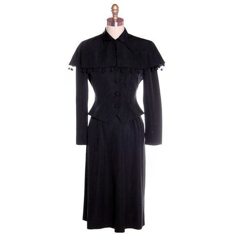 Vintage Black Rayon Suit w/ Cape Ball Fringe 1940s Sz 4
