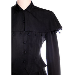 Vintage Black Rayon Suit w/ Cape Ball Fringe 1940s Sz 4 - The Best Vintage Clothing  - 5