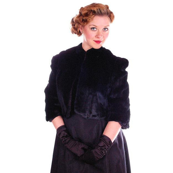 Vintage Black Sheared Rabbit Fur Short Jacket 1930's Velvety Soft Small - The Best Vintage Clothing  - 1