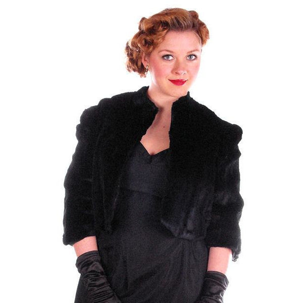 Vintage Black Sheared Rabbit Fur Short Jacket 1930's Velvety Soft Small - The Best Vintage Clothing  - 3