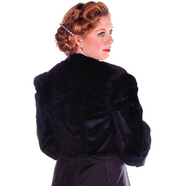 Vintage Black Sheared Rabbit Fur Short Jacket 1930's Velvety Soft Small - The Best Vintage Clothing  - 2