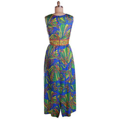 Vintage Blue Tones Border Print Dress Matinee NOS 1970S 36-31-42 - The Best Vintage Clothing  - 2
