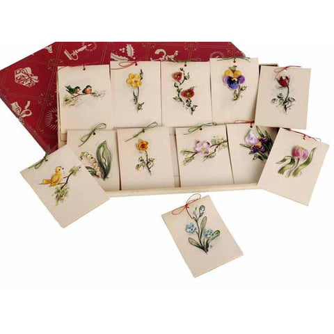 Vintage Box of Tally Cards Hand Painted 3D Birds Shells Flowers 1930s