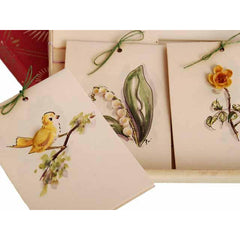 Vintage Box of Tally Cards Hand Painted 3D Birds Shells Flowers 1930s - The Best Vintage Clothing  - 5