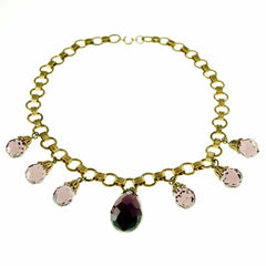 Vintage Brass & Large Amethyst Drop Necklace 1940S - The Best Vintage Clothing  - 2