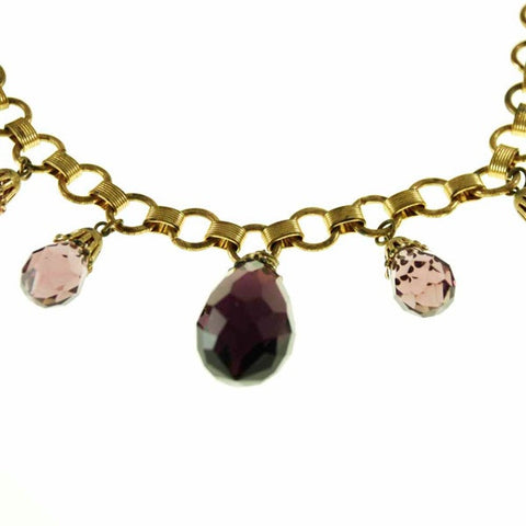 Vintage Brass & Large Amethyst Drop Necklace 1940S