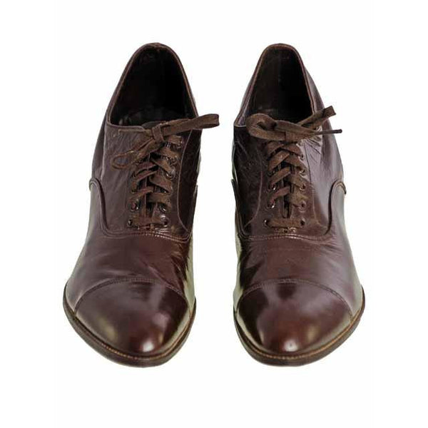 Vintage Brown Leather Early 1920S Oxford Shoes EU 38 Size 7 1/2 US - The Best Vintage Clothing  - 2