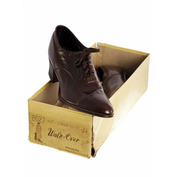 Vintage Brown Leather Early 1920S Oxford Shoes EU 38 Size 7 1/2 US - The Best Vintage Clothing  - 3