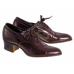 Vintage Brown Leather Early 1920S Oxford Shoes Size EU 36 Size 6 Ladies - The Best Vintage Clothing  - 4