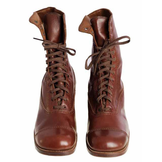 Vintage Brown Leather Boots Early  1920s Girls/Boys  Cap Toe NIB - The Best Vintage Clothing  - 1