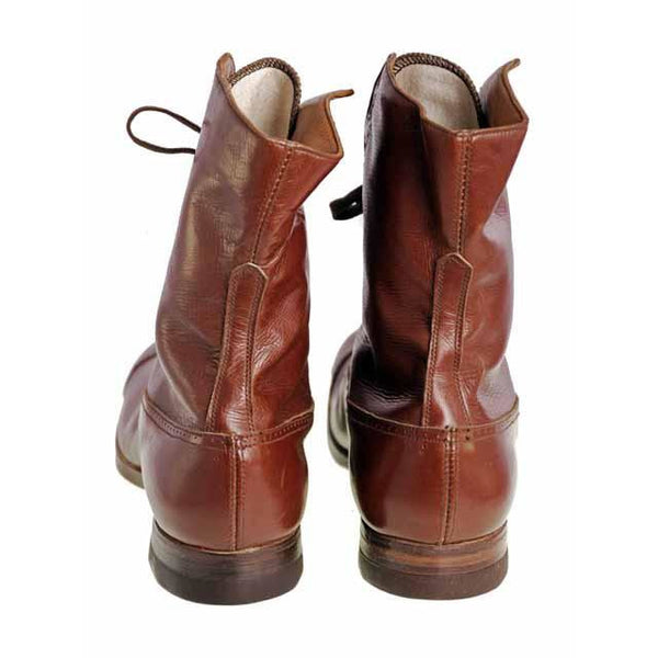 Vintage Brown Leather Boots Early  1920s Girls/Boys  Cap Toe NIB - The Best Vintage Clothing  - 3