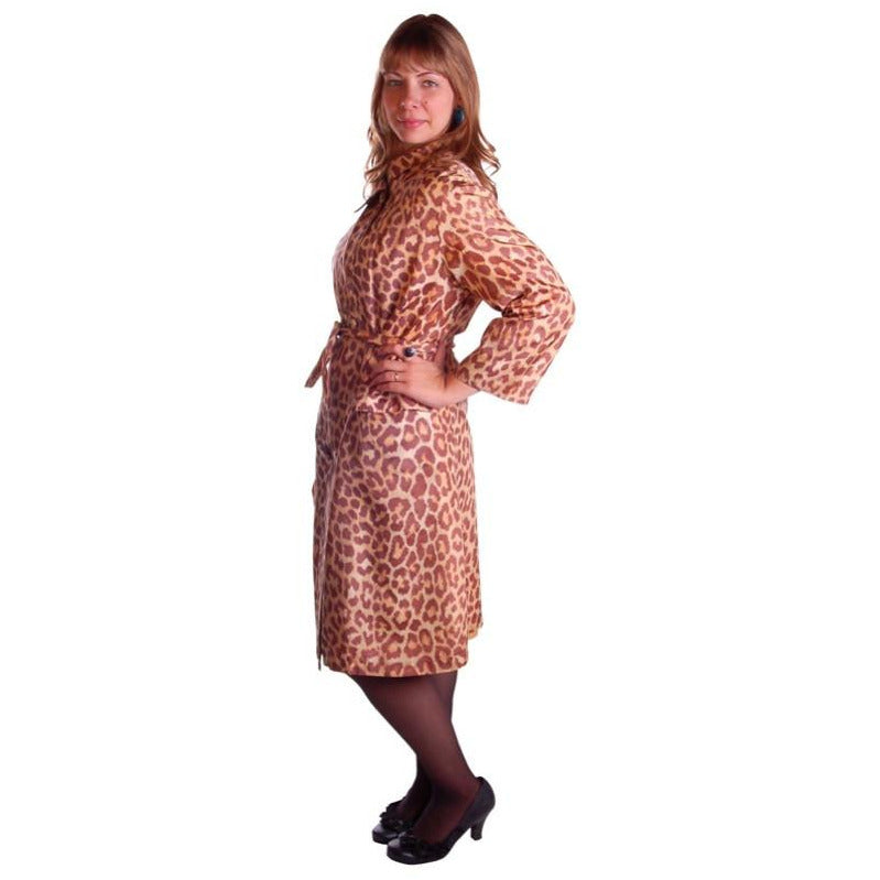 Vintage Cat Print Swing Coat 1950S Acetate /Scarf & Belt Rain Paka