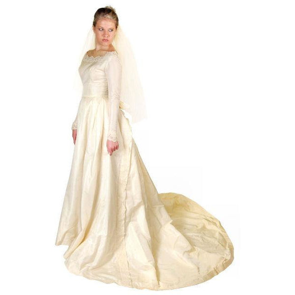 Vintage Champagne Ivory Silk Wedding Gown & Wax Look Headpiece- Veil 1949 Small - The Best Vintage Clothing  - 6