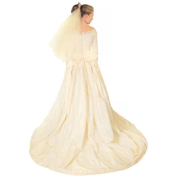 Vintage Champagne Ivory Silk Wedding Gown & Wax Look Headpiece- Veil 1949 Small - The Best Vintage Clothing  - 3