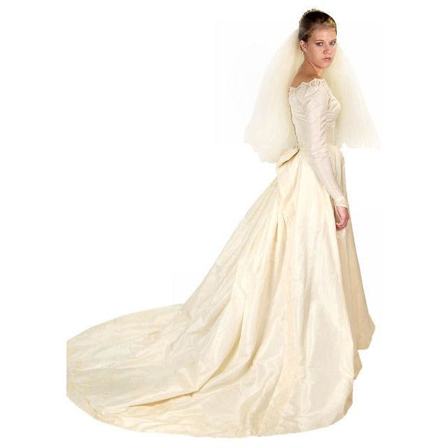Vintage Champagne Ivory Silk Wedding Gown & Wax Look Headpiece- Veil 1949 Small - The Best Vintage Clothing  - 1