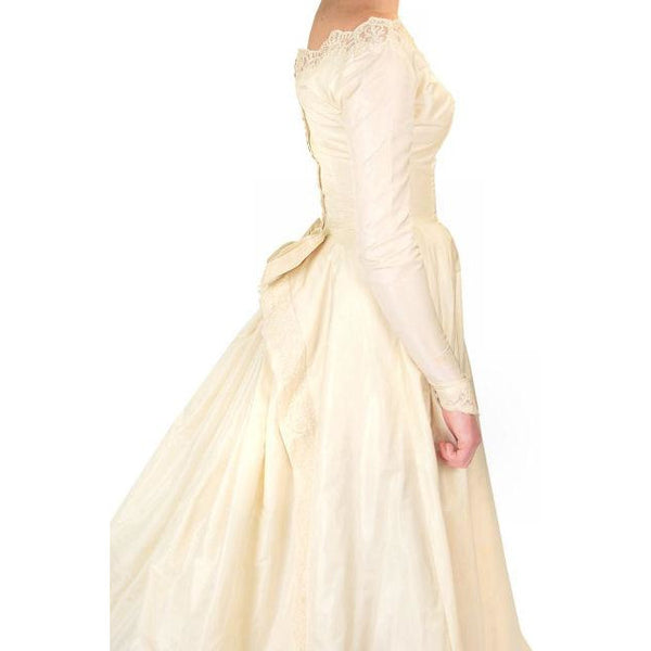 Vintage Champagne Ivory Silk Wedding Gown & Wax Look Headpiece- Veil 1949 Small - The Best Vintage Clothing  - 8