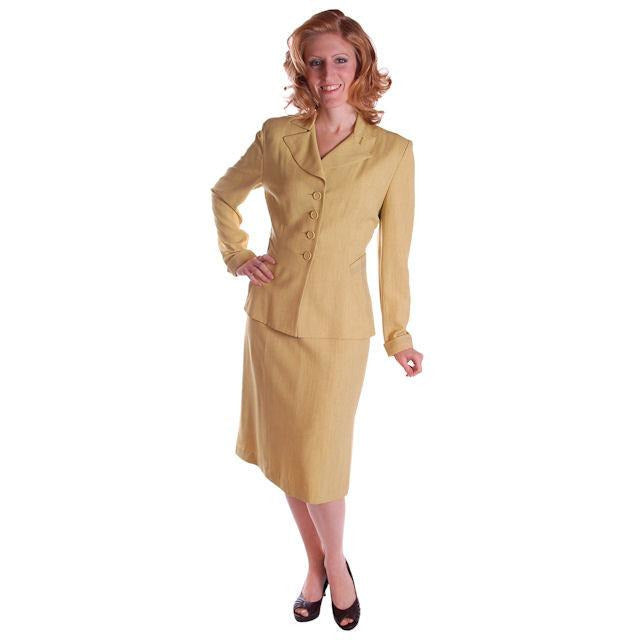 Vintage Ladies Chartreuse Gab Suit 1940S Pencil Skirt 1940S - The Best Vintage Clothing  - 1