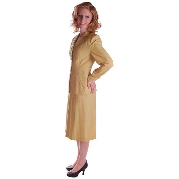 Vintage Ladies Chartreuse Gab Suit 1940S Pencil Skirt 1940S - The Best Vintage Clothing  - 3