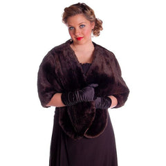 Vintage Soft Chocolate Brown Beaver Fur Stole 1940's Perfect Strapless Dress Topper - The Best Vintage Clothing  - 1