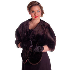 Vintage Soft Chocolate Brown Beaver Fur Stole 1940's Perfect Strapless Dress Topper - The Best Vintage Clothing  - 6