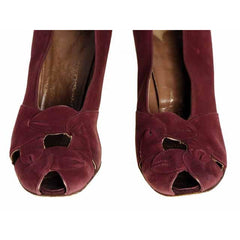 Vintage Womens Shoes Claret Red Suede Newton Elkin Peep Toe Pumps 1930S Size 7 - The Best Vintage Clothing  - 3