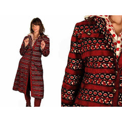 Vintage Coat Cut Corduroy Fab Pattern  Red & Black 1970'S Large Provenance - The Best Vintage Clothing  - 4