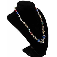 "Vintage Colored Aurora Crystal Necklace 10Kt Clasp 18"" - The Best Vintage Clothing  - 2"
