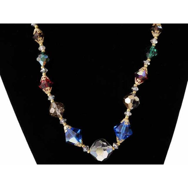 "Vintage Colored Aurora Crystal Necklace 10Kt Clasp 18"" - The Best Vintage Clothing  - 3"
