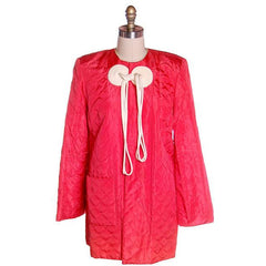 Vintage Coral Quilted Taffeta Short  Robe Jacket Fab Frogs 1940's 44 Bust - The Best Vintage Clothing  - 1