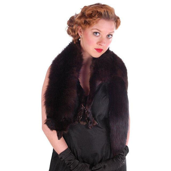Vintage Dark Brown Full Fox Fur  Wrap/Scarf  1930S Celluloid Clip - The Best Vintage Clothing  - 2