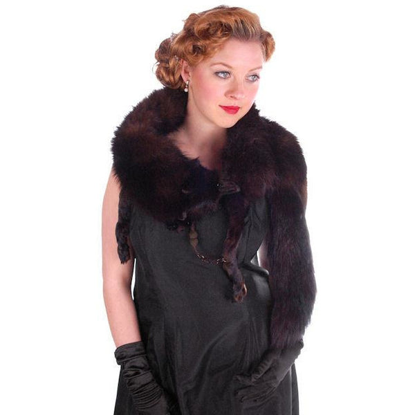 Vintage Dark Brown Full Fox Fur  Wrap/Scarf  1930S Celluloid Clip - The Best Vintage Clothing  - 1