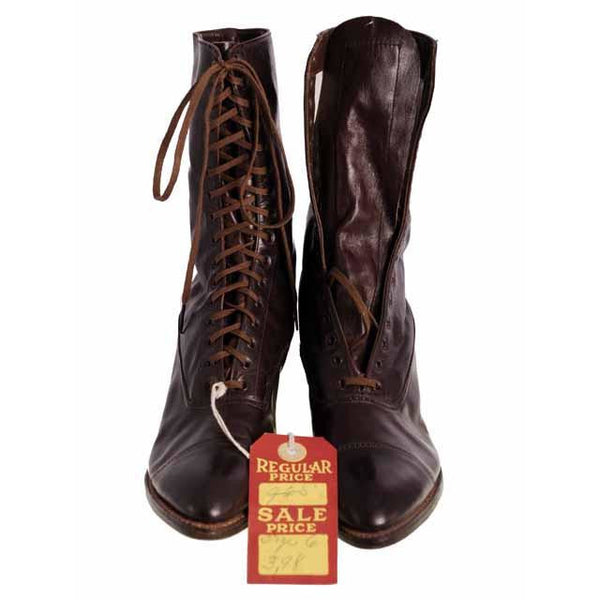 Ladies Vintage Dark Brown Leather Victorian Boots 1910 Sz 5-6 - The Best Vintage Clothing  - 2