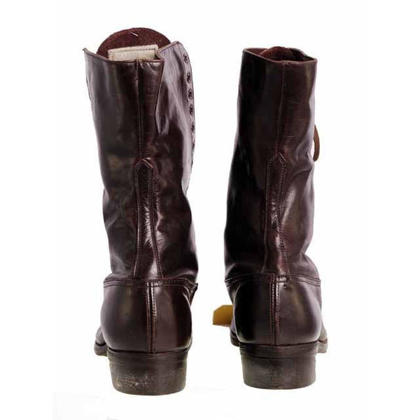 Ladies Vintage Dark Brown Leather Victorian Boots 1910 Sz 5-6 - The Best Vintage Clothing  - 4