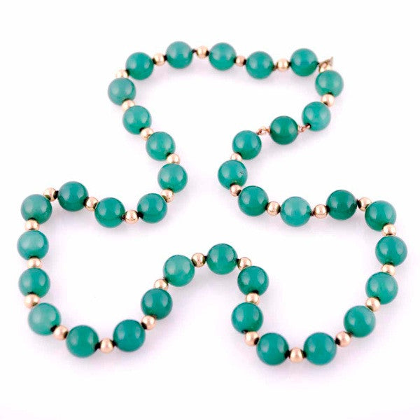 "Vintage Emerald Green Chalcedony Beads Necklace  14K Clasp 22"" Long - The Best Vintage Clothing  - 1"