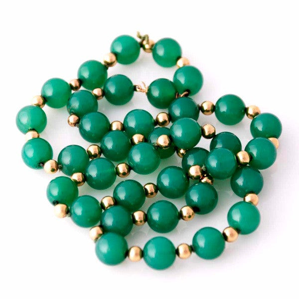 "Vintage Emerald Green Chalcedony Beads Necklace  14K Clasp 22"" Long - The Best Vintage Clothing  - 3"