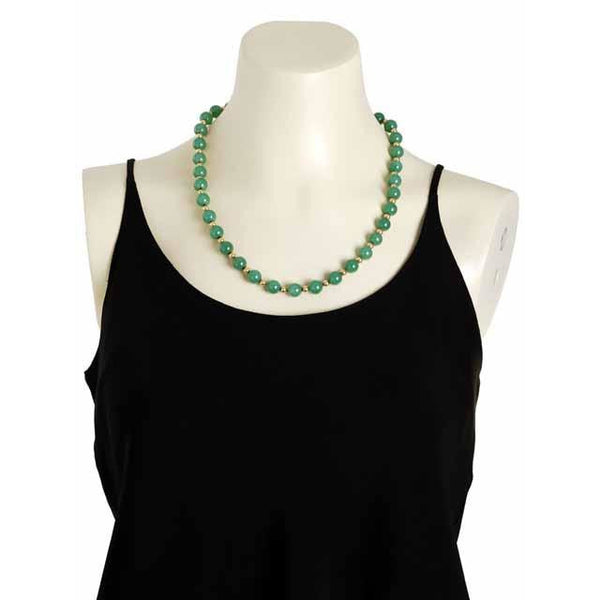 "Vintage Emerald Green Chalcedony Beads Necklace  14K Clasp 22"" Long - The Best Vintage Clothing  - 2"