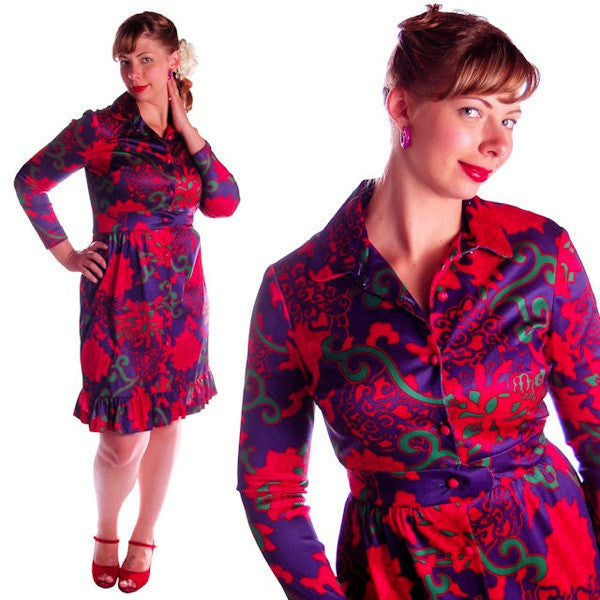 Vintage Dress 1970s Emilio Borghese Print  Size 10-12 - The Best Vintage Clothing  - 2