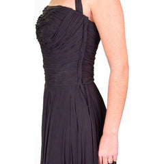 Vintage Formal Evening Gown Black Chiffon Halter Lee Claire 1940'S 32-24-Free - The Best Vintage Clothing  - 4