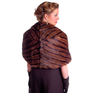 Vintage Stole Kolinsky Mink Fur Gorgeous Bamboo Print Turquoise Lining 1940s - The Best Vintage Clothing  - 1