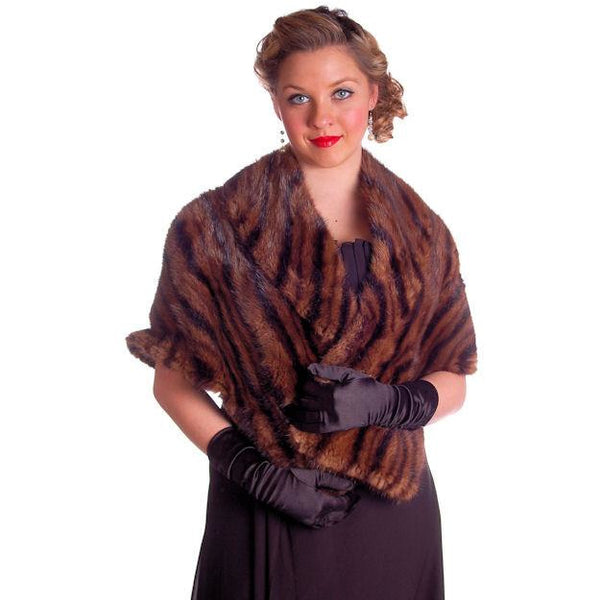 Vintage Stole Kolinsky Mink Fur Gorgeous Bamboo Print Turquoise Lining 1940s - The Best Vintage Clothing  - 4