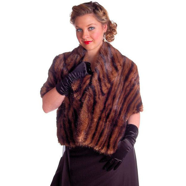 Vintage Stole Kolinsky Mink Fur Gorgeous Bamboo Print Turquoise Lining 1940s - The Best Vintage Clothing  - 5