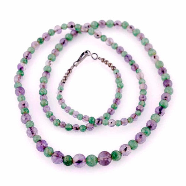 "Vintage Gemstone Necklace Amethyst/Green Malachite 32"" - The Best Vintage Clothing  - 1"
