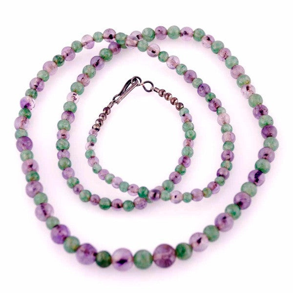 "Vintage Gemstone Necklace Amethyst/Green Malachite 32"" - The Best Vintage Clothing  - 3"