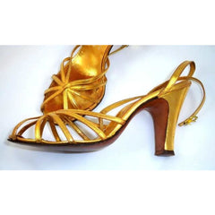 Vintage Gold Leather Sandals Ankle Strap 1940'S BonWit Teller Fifth Ave Sz 7 - The Best Vintage Clothing  - 4